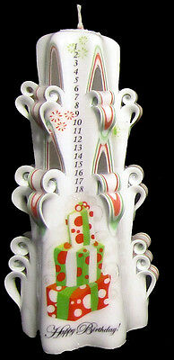 Fun BABY BIRTHDAY gift COUNTDOWN carved candle gift Fireworks!! red /& green