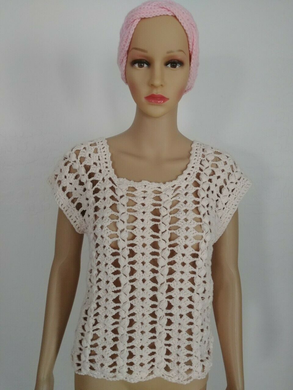 Hand Knit Crochet Woherren Teen Chamomile Summer Fashion Top Größe S