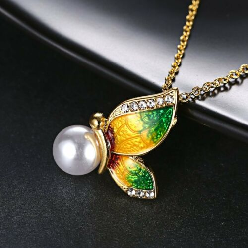 Elegant Women Butterfly Crystal Pearl Pendant Necklace Long Chain Jewelry Gift
