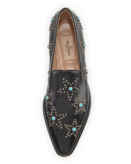 Valentino Star Star Star Cabochon Leather Loafer, Black Turquoise MSRP   1,095 Sz 37.5 89908a