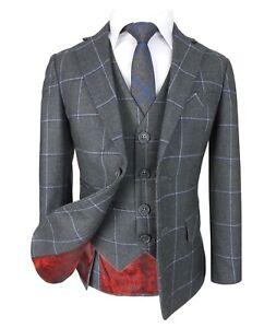 Kids Exclusive Dark Blue Gold Slim Fit Check Suit Page Boys Prom Communion Suits