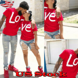 LOVE-Couples-T-Shirt-Short-Sleeve-Lover-Matching-Valentines-Summer-Tops-Tee