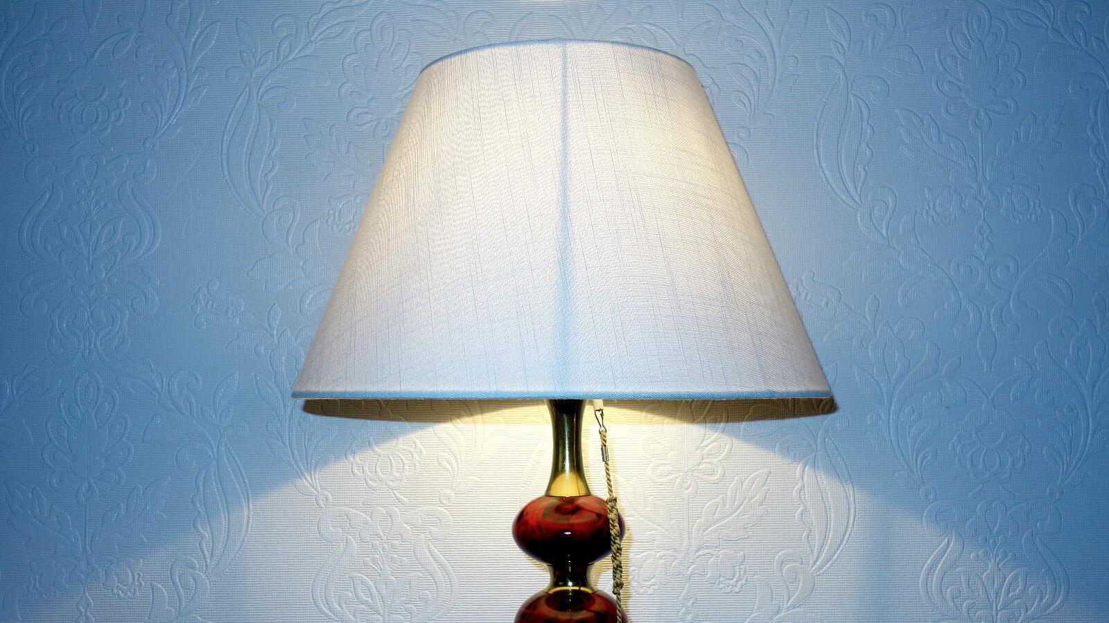 Antique laiton-bois tissu Parapluie lampe bureau de bureau lampe 1 brûleurs 75 cm haut 144053
