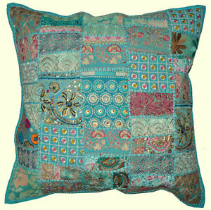 On Sale 24x24 Indian Patchwork Pillow Cover Blue Bohemian Pillow ...