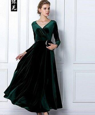 4 Color Elegant Women V Neck Shimmer Velvet Stretchy Long Sleeve Dress Gorgeous