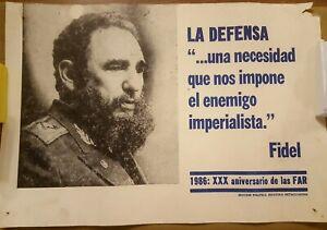 La Defensa Fidel Castro 1986 Poster  100% original Cuba