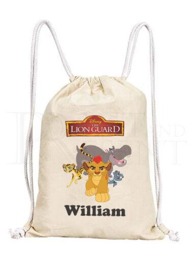 Personalised Childrens Lion Guard Drawstring Canvas Gym// PE Bag