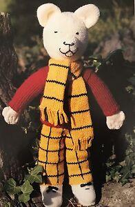 T3 - Knitting Pattern - Large Rupert Bear Plush Childrens Toy - Child