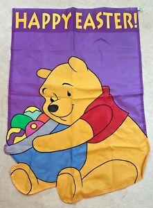 Vintage Disney's Winnie the Pooh Happy Easter Banner Flag 27x40 EUC SELDOM USED!