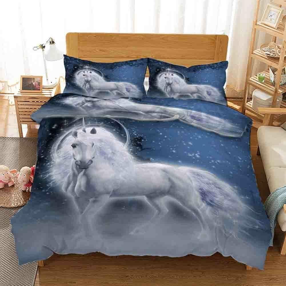 Weiß Horse Beard 3D Druckening Duvet Quilt Will Startseites Pillow Case Christmas