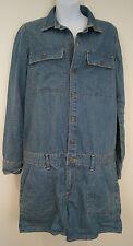 PAIGE Blue Denim Cotton Blend Long Sleeve Shorts Romper Onsie Playsuit Sz:S BNWT