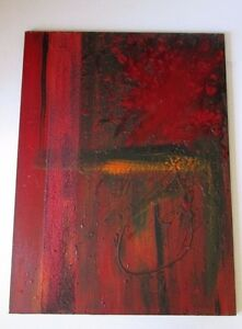MYSTERY-ARTIST-SIGNED-NON-OBJECTIVE-ABSTRACT-EXPRESSIONISM-MODERNISM-RED-BLACK