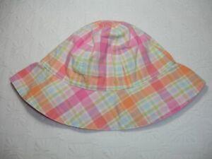 Gymboree-Sun-Hat-By-the-Seashore-Plaid-Reversible-Plaid-Floppy-Bucket-6M-12M