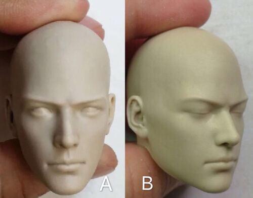 1//6 Male Buddhist Monk Unpainted White Head Model Toy