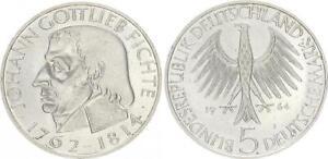 Germany 5 Mark Johann Gottlieb Fichte 1964 Commemorative Coin Xf-Bu