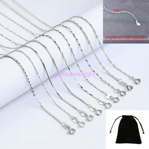 S925 Sterling silver Adjustable chain Necklace 1.2mm 14 16 18 inch Gift Italy