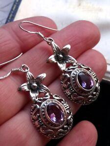 Vintage-Unworn-Amethyst-amp-Solid-Sterling-Silver-Art-Nouveau-Style-Drop-Earrings