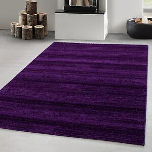 Détails sur Tapis court pile Salon moderne de couleur unie Melange Uni  Violet Oeko Tex viole