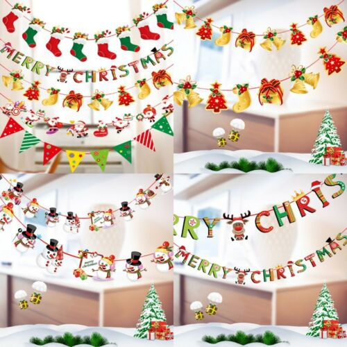 Hot For Christmas Decor Elk Tree Banner Flags Hanging Ornaments Multi Style
