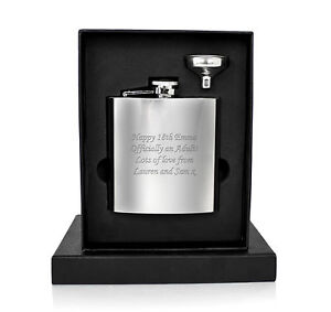 Personalised-Engraved-6oz-Hip-Flask-Funnel-Luxury-Moulded-Gift-Box-18th-21st
