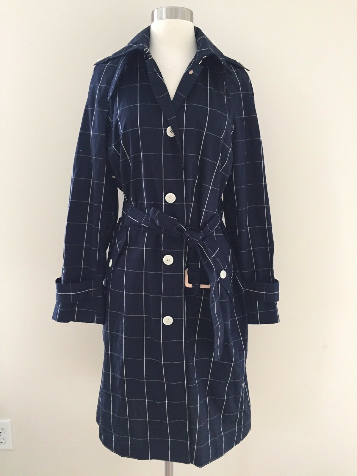 JCrew  258 Collection Trench Coat in Windowpane Sz 10 Navy bluee Cream G2383