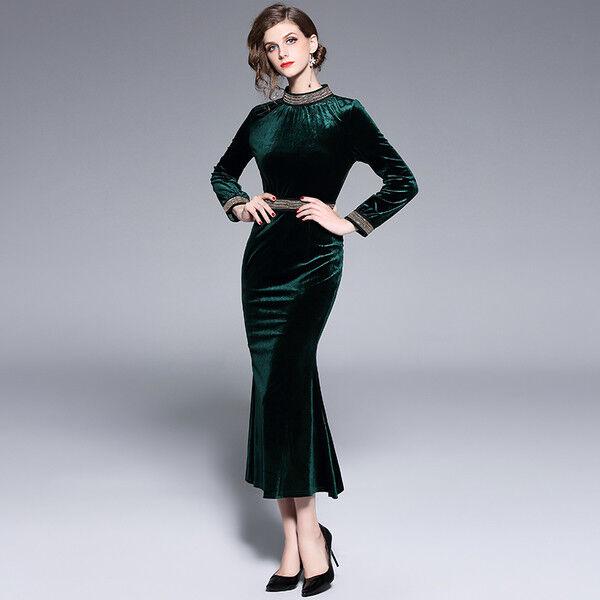 Kleid Lang Kleid Teilt Elegant Grün samt Schlank Weich Mode Hülle 4937