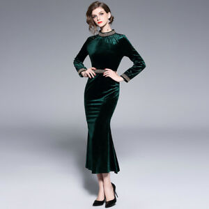 Vestiti Eleganti Verdi.Vestito Lungo Abito Spacco Elegante Verde Velluto Slim Morbido