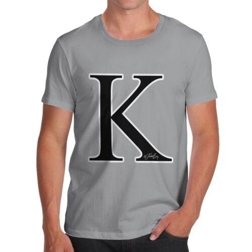 Twisted Envy Men/'s Alphabet Monogram Letter K T-Shirt