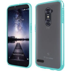 For-ZTE-Zmax-Pro-Slim-Fit-Rubberized-Clear-Back-Panel-Teal-Bumper-TPU-Case-Cover