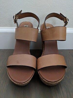 Steve Madden Estrella Wedge Sandals Platform Heel Tan Size 9 Ankle Strap Cork | eBay