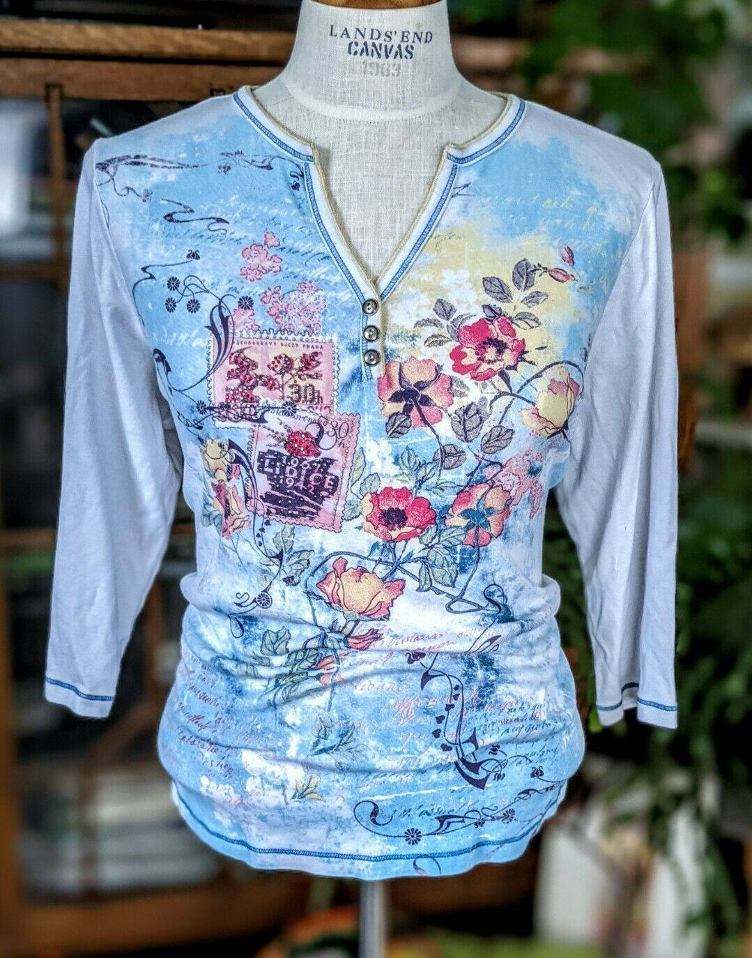 Vintage 1X Blue Canyon 3/4 Sleeve Top Floral Rhin… - image 1