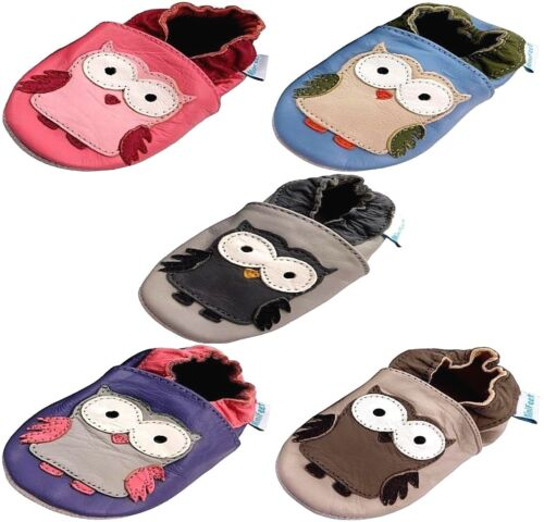 OWLS MINIFEET SOFT LEATHER BABY SHOES 0-6,6-12,12-18,18-24 Months /& 2-3 Years