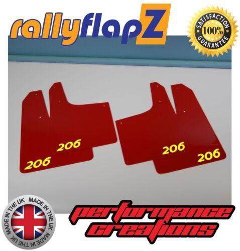rallyflapZ Logo Rouge Jaune Rally Style Bavette PEUGEOT 206 bavettes 4 mm PVC