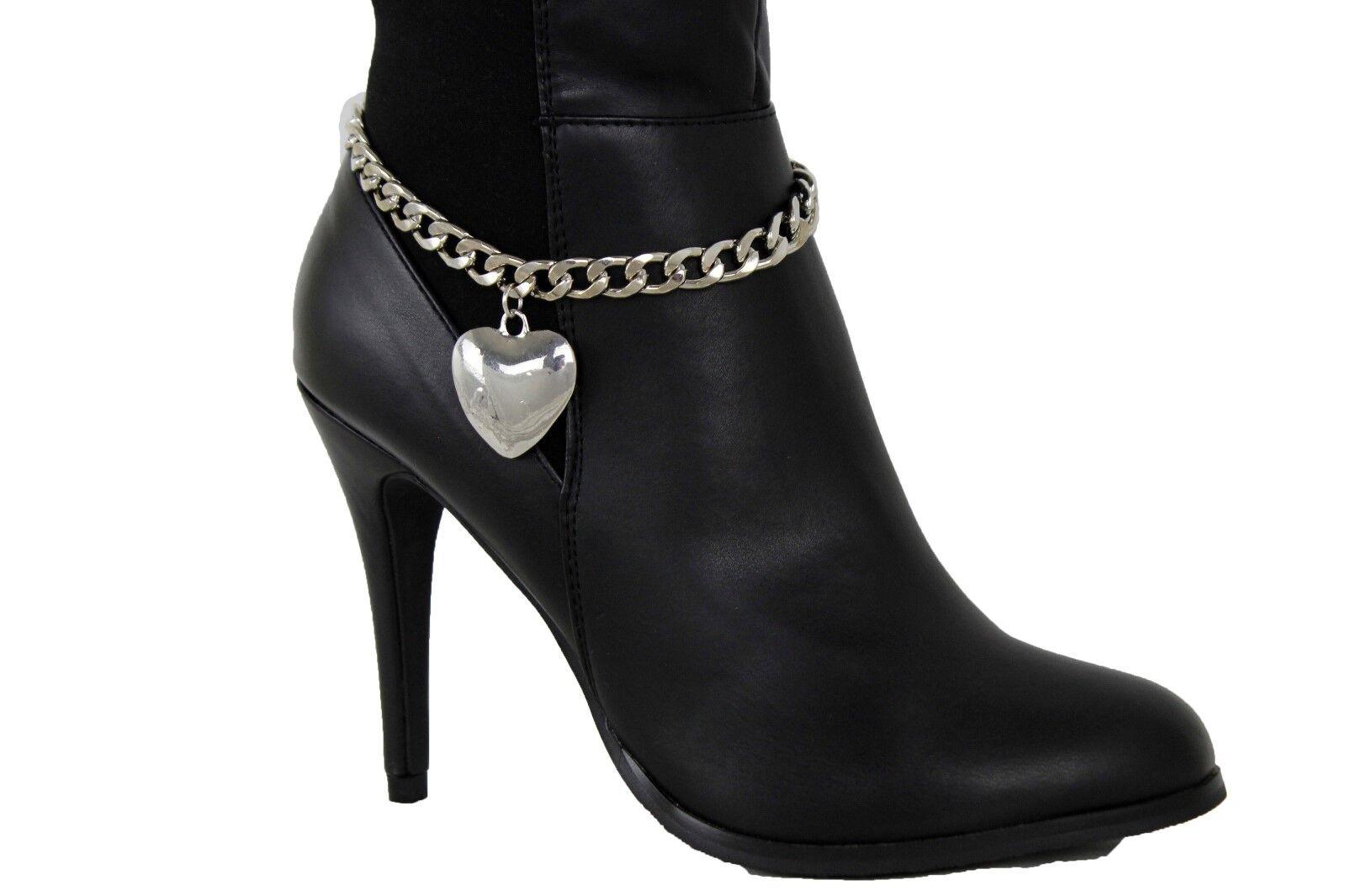 Women Boot Bracelet Silver Metal Chain Anklet Shoe Big Heart Charm Skinny Strap