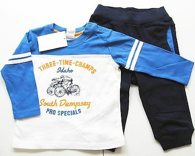 Set Sweat Hose Shirt Gr.86 H&M NEU m.E 100% Baumwolle blau weiß Jogging Anzug