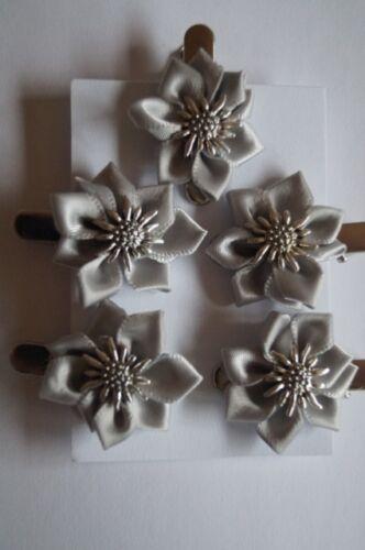 5x Haarspange Trachtenschmuck Silbergrau Edelweiss Satinblume  Dirndl