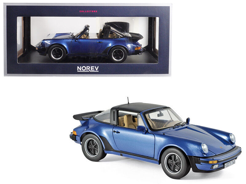 1987 porsche 911 turbo targa 3.3 blau metallic 1   18 ein diecast modell - auto von norev
