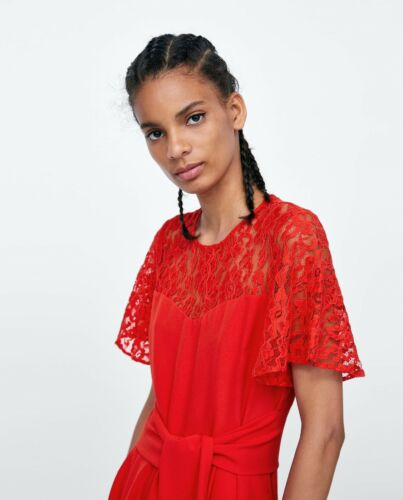 Jumpsuit Contrast Medium Size Nwt Out Zara Sold Red Lace IwgEIUqxH