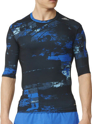 GüNstiger Verkauf Adidas Tech-fit Base Short Sleeve Mens Compression Top - Blue