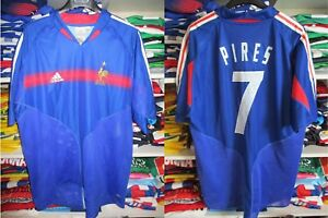 Maillot-Equipe-de-FRANCE-Adidas-EURO-2004-PIRES-n-7-jersey-shirt-vintage-XL