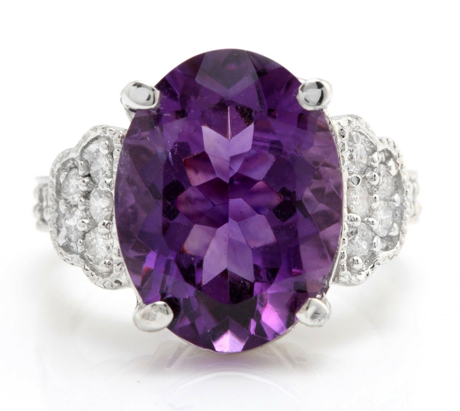 11.00 Carat Natural Purple Amethyst and Diamonds in 14K Solid White gold Ring