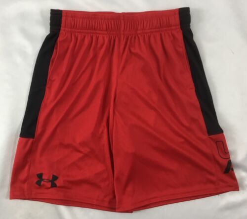 Under Armour Boys Athletic Basketball Shorts 1299989 Black Red YOUTH Size M