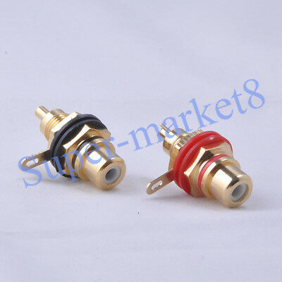 30pair Red Black RCA Terminal Jack Female Chassis Connector Gold Audio Amplifier