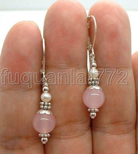 Handmade Rose Quartz W. FWP Freshwater pearl Sterling Silver Earrings Leverbacks