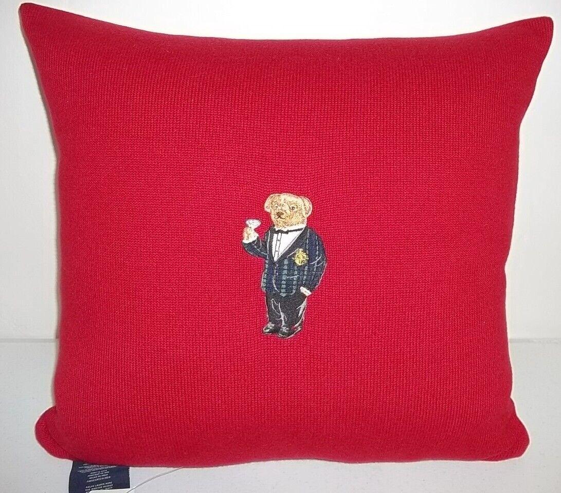 Ralph Lauren Alsten Martini Bear rouge Knit Oreiller Neuf avec étiquettes