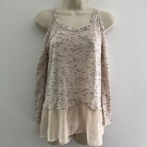 About-A-Girl-women-039-s-small-top-cold-shoulder-layered-look-beige-boho