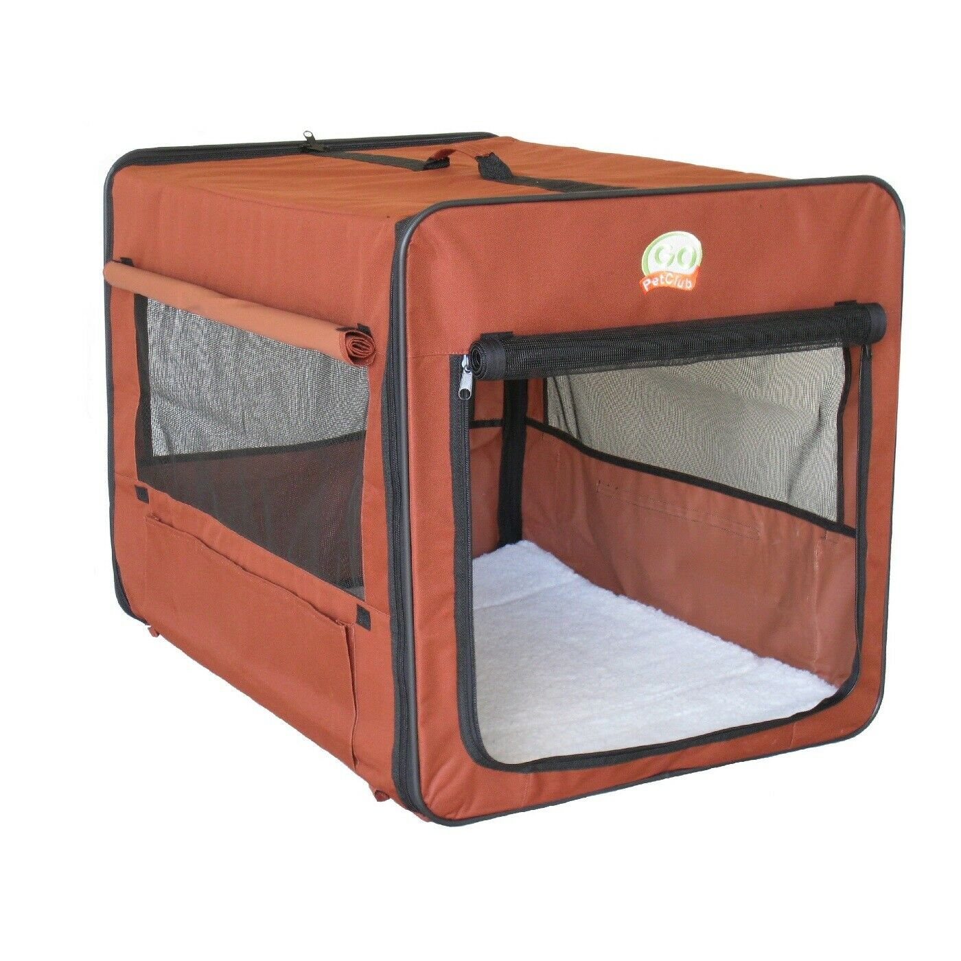 Soft Side Crate For Medium Dog Brown Portable Carrier Kennel Puppy Pet Cage GIFT
