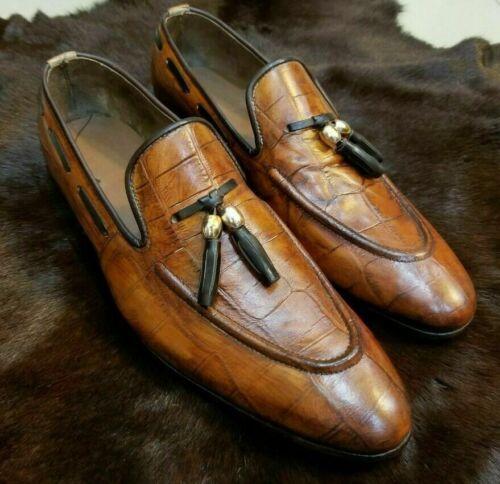 Mens Handmade Shoes Brown Calf Leather Crocodile Print Slip-On Moccasins Formal