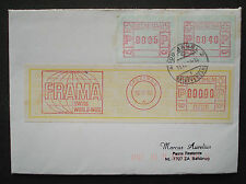 Schweiz label cover1980:with FRAMA ATM variable rate stamps, + 0000-Druck -RARE!