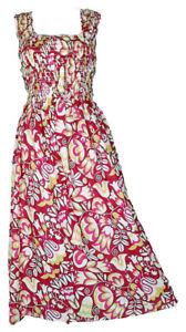 Pink-100-Cotton-Long-Boho-Maxi-Dress-Party-Evening-Size-14-16-18-20-22-24-April